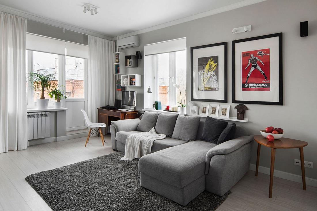Il soggiorno è pareti grigio chiaro. Sfondo grigio per un interno ...