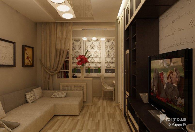 Дизайн прямоугольной комнаты с балконом
