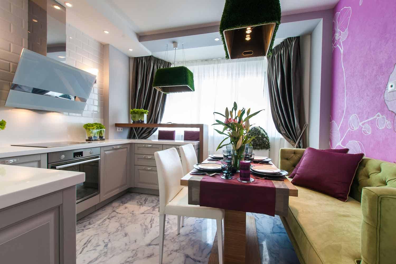 Дизайн прямокутної кухні 9 кв.