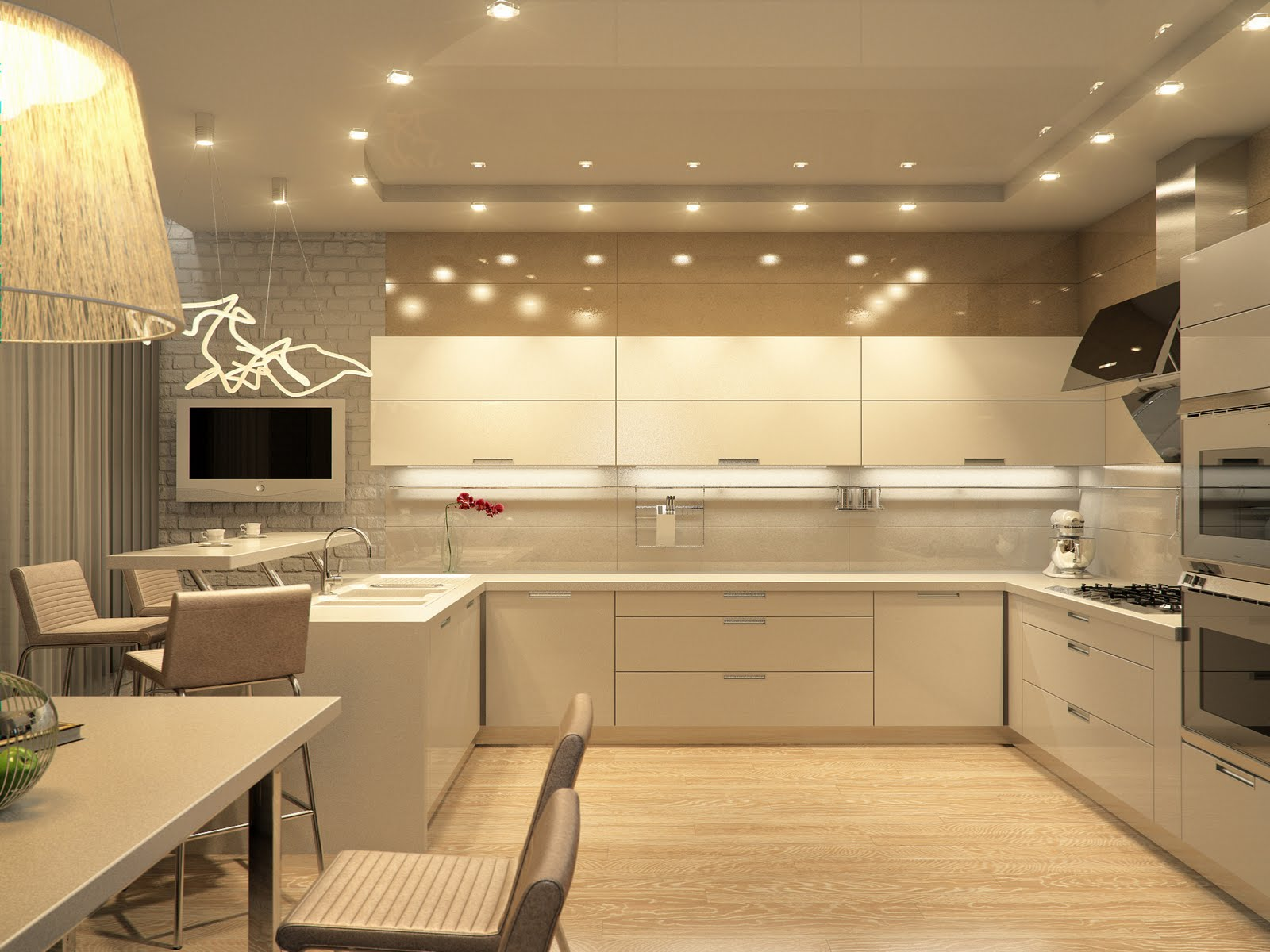 Кухня в теплых тонах  № 889846 бесплатно