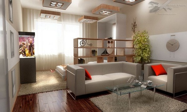 Интерьер спальни совмещенной с гостиной