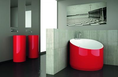 Lille vinkel badekar. Kompakte badeværelser