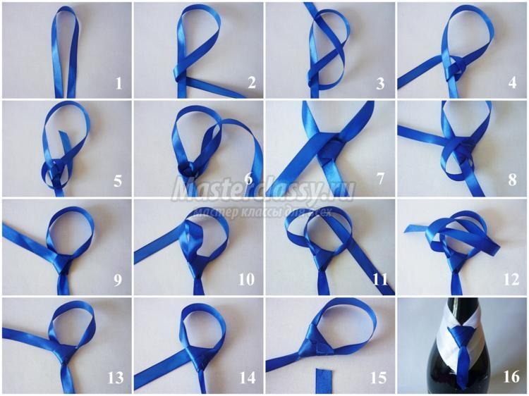 Как сделать бутылку из лент с галстуком