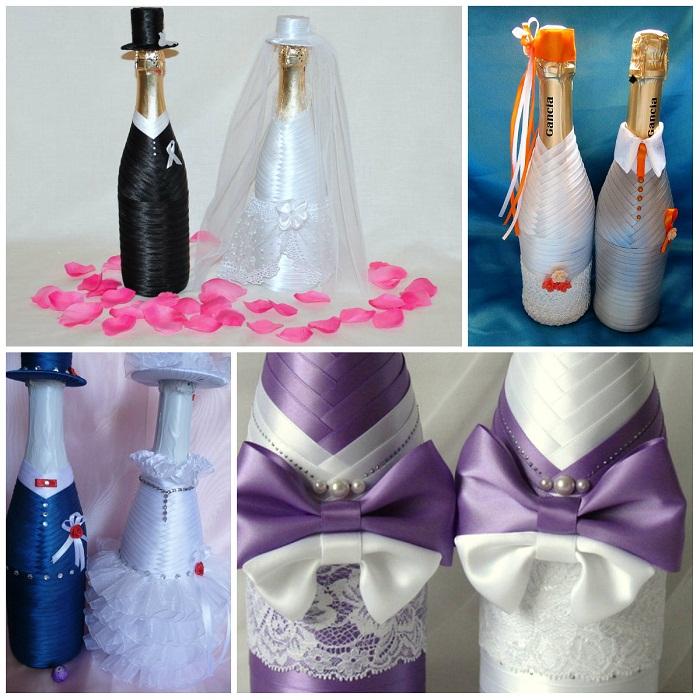 Украшение лентами бутылки шампанского на свадьбу своими руками 27