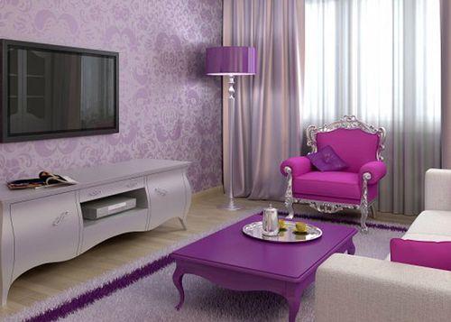 Фиолетовые обои в интерьере гостиной фото
