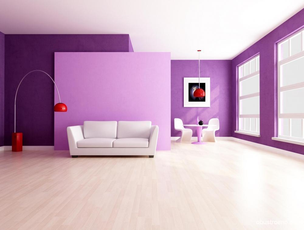The lilac interior of the hall. Lilac Living Room - Photos and Tips.