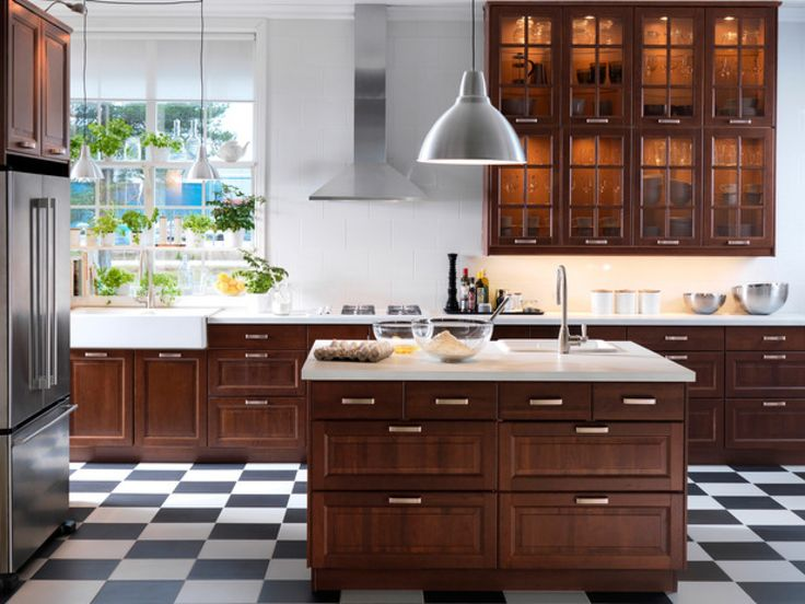 Classic Kitchen In Dark Colors The Perfect Color For Brown Kitchen Wallpaper